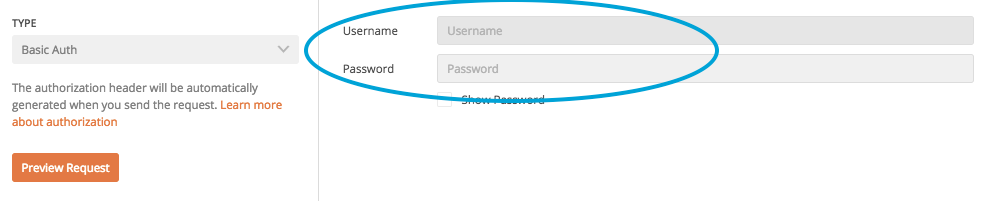 insert username and password